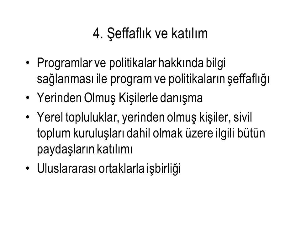 4. Şeffaflık ve katılım Programlar ve politikalar hakkında bilgi sağlanması ile program ve politikaların şeffaflığı Yerinden Olmuş Kişilerle danışma Y