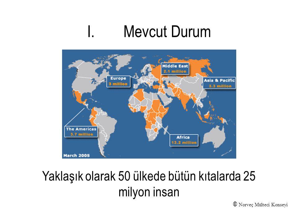 © Norveç Mülteci Konseyi Yaklaşık olarak 50 ülkede bütün kıtalarda 25 milyon insan I.Mevcut Durum