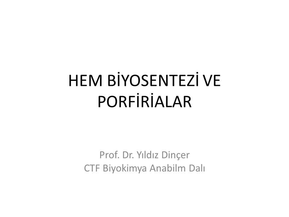 HEM BİYOSENTEZİ VE PORFİRİALAR Prof. Dr. Yıldız Dinçer CTF Biyokimya Anabilm Dalı