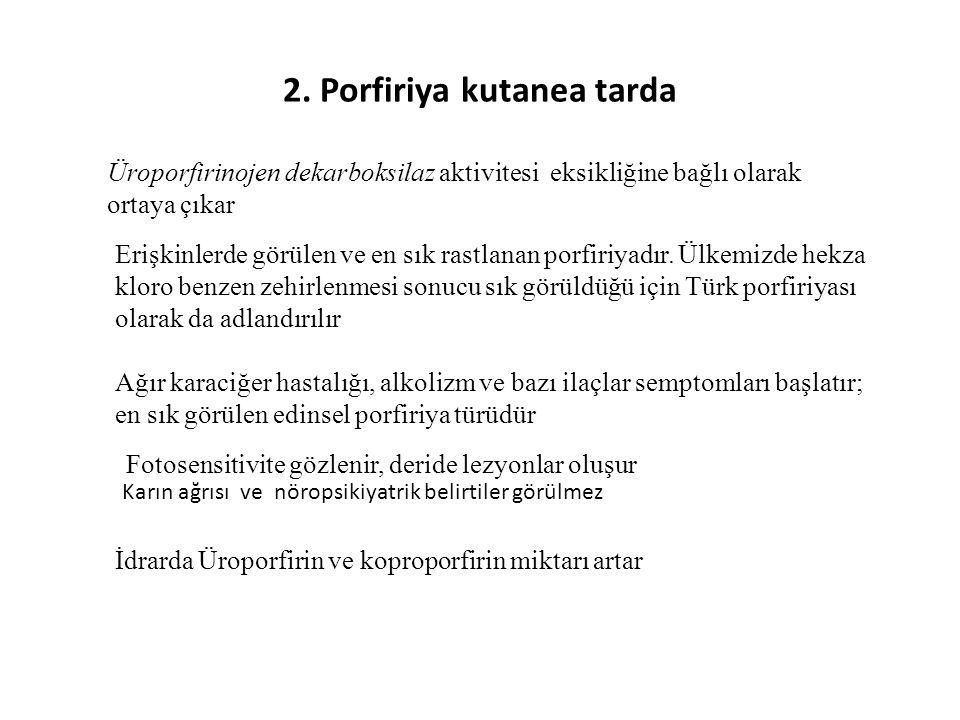 2. Porfiriya kutanea tarda Üroporfirinojen dekarboksilaz aktivitesi eksikliğine bağlı olarak ortaya çıkar Erişkinlerde görülen ve en sık rastlanan por