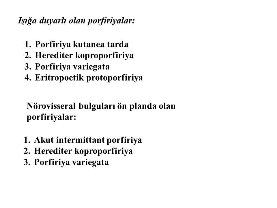 Işığa duyarlı olan porfiriyalar: 1.Porfiriya kutanea tarda 2.Herediter koproporfiriya 3.Porfiriya variegata 4.Eritropoetik protoporfiriya Nörovisseral bulguları ön planda olan porfiriyalar: 1.Akut intermittant porfiriya 2.Herediter koproporfiriya 3.Porfiriya variegata