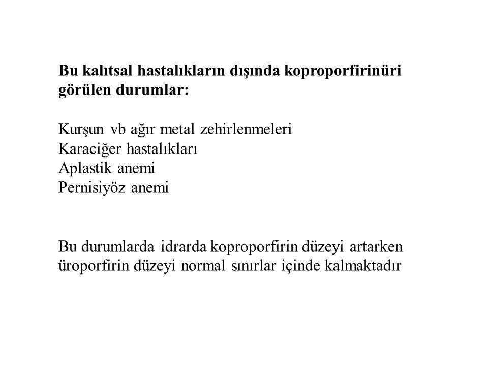 Bu kalıtsal hastalıkların dışında koproporfirinüri görülen durumlar: Kurşun vb ağır metal zehirlenmeleri Karaciğer hastalıkları Aplastik anemi Pernisi
