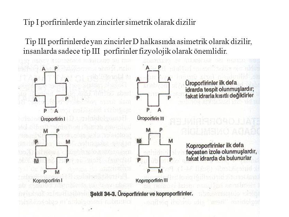 Tip I porfirinlerde yan zincirler simetrik olarak dizilir Tip III porfirinlerde yan zincirler D halkasında asimetrik olarak dizilir, insanlarda sadece
