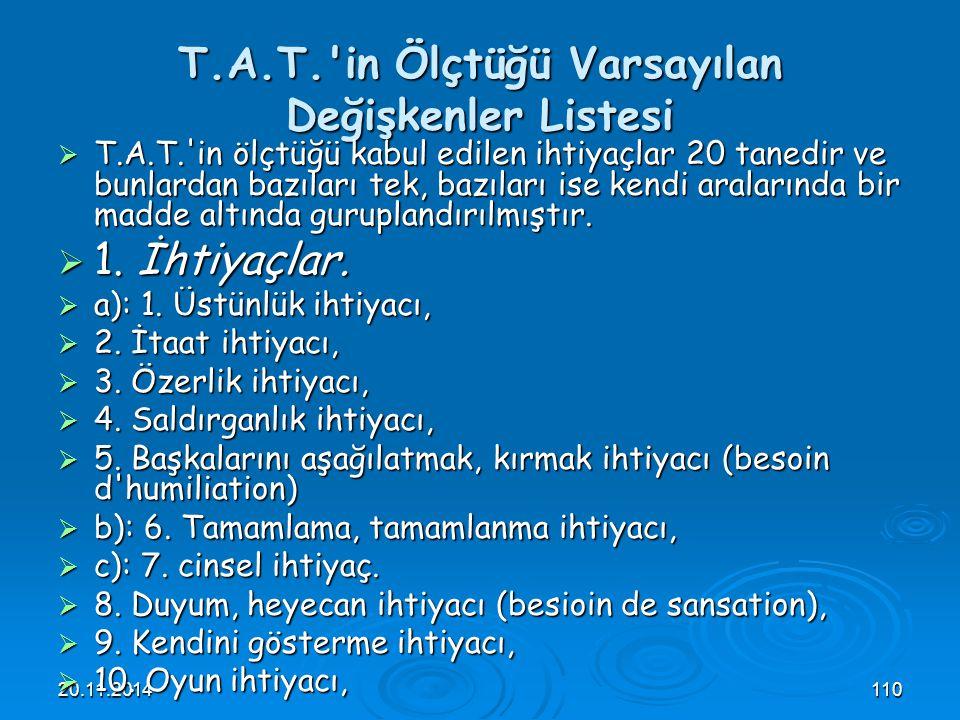 20.11.2014110 T.A.T.'in Ölçtüğü Varsayılan Değişkenler Listesi  T.A.T.'in ölçtüğü kabul edilen ihtiyaçlar 20 tanedir ve bunlardan bazıları tek, bazıl