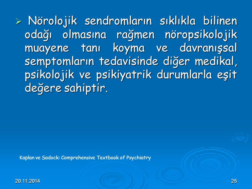 20.11.201425  Nörolojik sendromların sıklıkla bilinen odağı olmasına rağmen nöropsikolojik muayene tanı koyma ve davranışsal semptomların tedavisinde