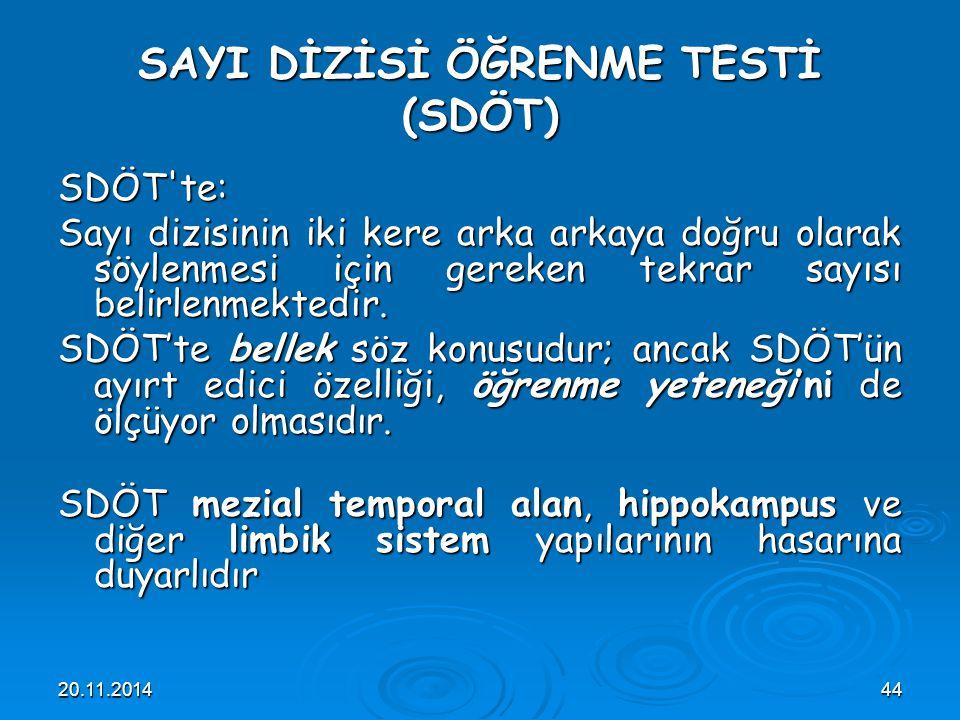 20.11.201444 SAYI DİZİSİ ÖĞRENME TESTİ (SDÖT) SDÖT'te: Sayı dizisinin iki kere arka arkaya doğru olarak söylenmesi için gereken tekrar sayısı belirlen