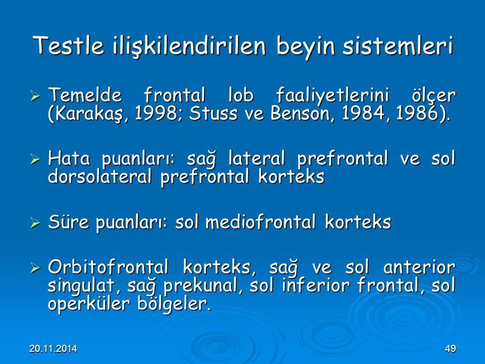 20.11.201449 Testle ilişkilendirilen beyin sistemleri  Temelde frontal lob faaliyetlerini ölçer (Karakaş, 1998; Stuss ve Benson, 1984, 1986).  Hata
