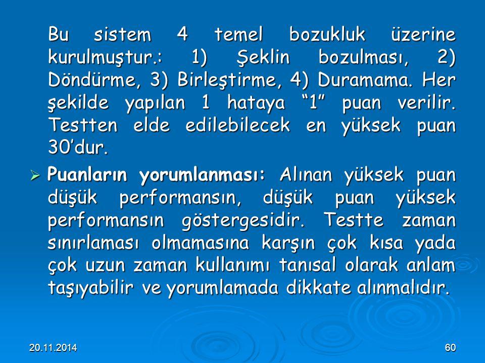 20.11.201460 Bu sistem 4 temel bozukluk üzerine kurulmuştur.: 1) Şeklin bozulması, 2) Döndürme, 3) Birleştirme, 4) Duramama. Her şekilde yapılan 1 hat