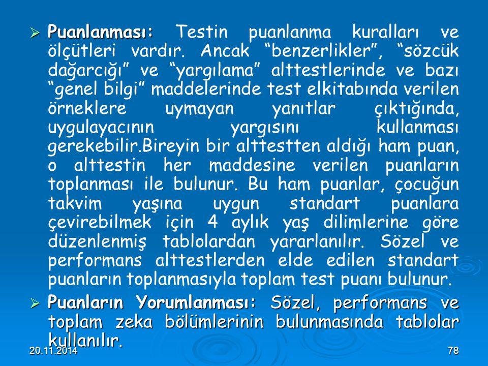 """20.11.201478  Puanlanması:  Puanlanması: Testin puanlanma kuralları ve ölçütleri vardır. Ancak """"benzerlikler"""", """"sözcük dağarcığı"""" ve """"yargılama"""" alt"""