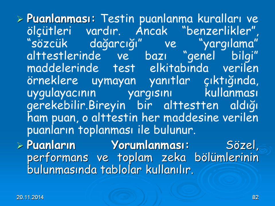 """20.11.201482  Puanlanması:  Puanlanması: Testin puanlanma kuralları ve ölçütleri vardır. Ancak """"benzerlikler"""", """"sözcük dağarcığı"""" ve """"yargılama"""" alt"""