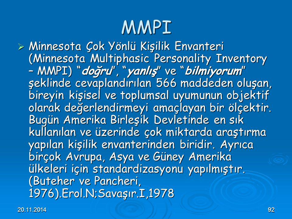 """20.11.201492 MMPI  Minnesota Çok Yönlü Kişilik Envanteri (Minnesota Multiphasic Personality Inventory – MMPI) """"doğru"""", """"yanlış"""" ve """"bilmiyorum"""" şekli"""