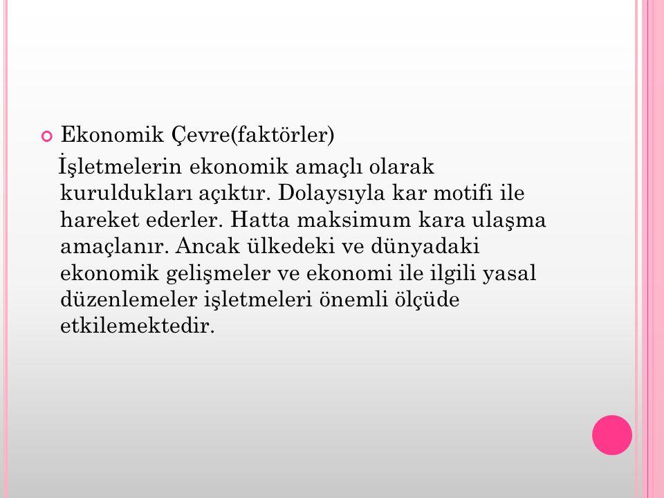 Ekonomik Çevre(faktörler) İşletmelerin ekonomik amaçlı olarak kuruldukları açıktır. Dolaysıyla kar motifi ile hareket ederler. Hatta maksimum kara ula