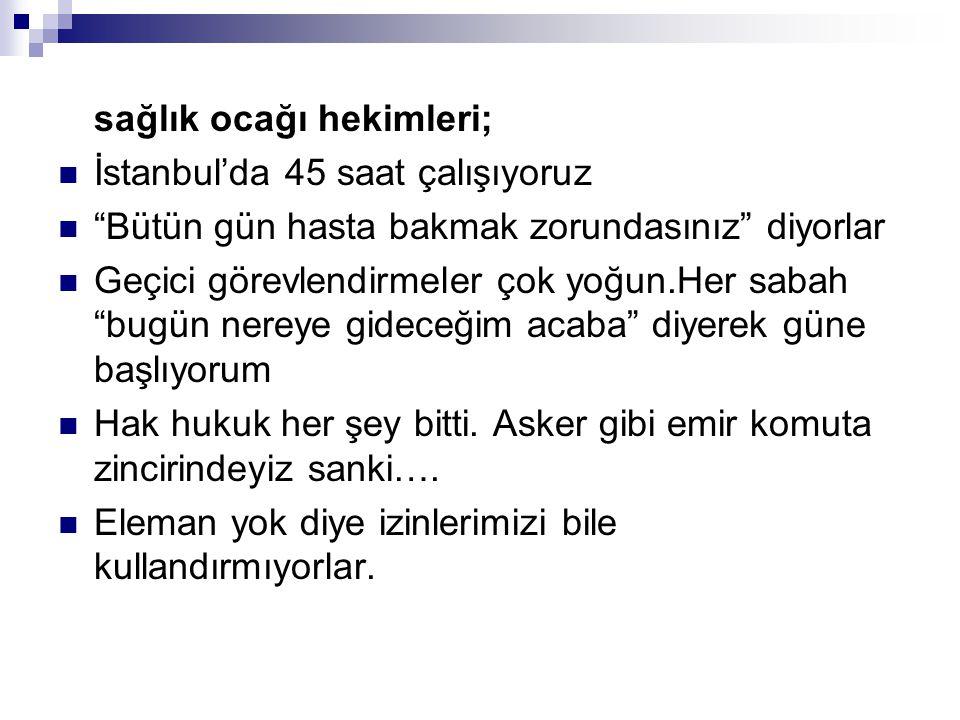 """sağlık ocağı hekimleri; İstanbul'da 45 saat çalışıyoruz """"Bütün gün hasta bakmak zorundasınız"""" diyorlar Geçici görevlendirmeler çok yoğun.Her sabah """"bu"""