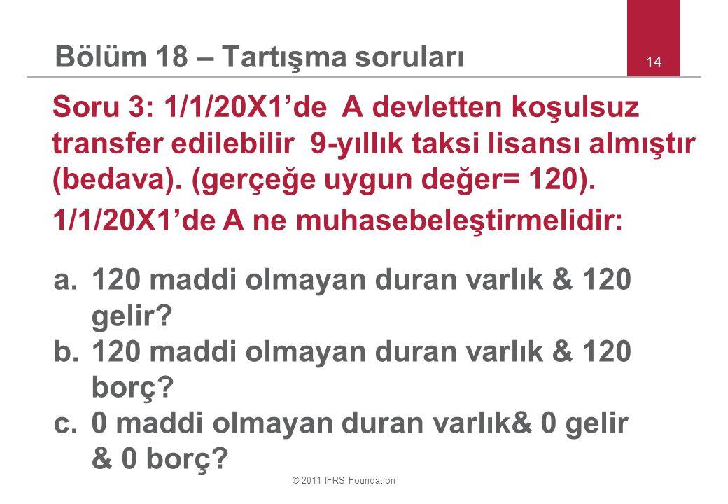© 2011 IFRS Foundation 14 Bölüm 18 – Tartışma soruları Soru 3: 1/1/20X1'de A devletten koşulsuz transfer edilebilir 9 ‑ yıllık taksi lisansı almıştır (bedava).