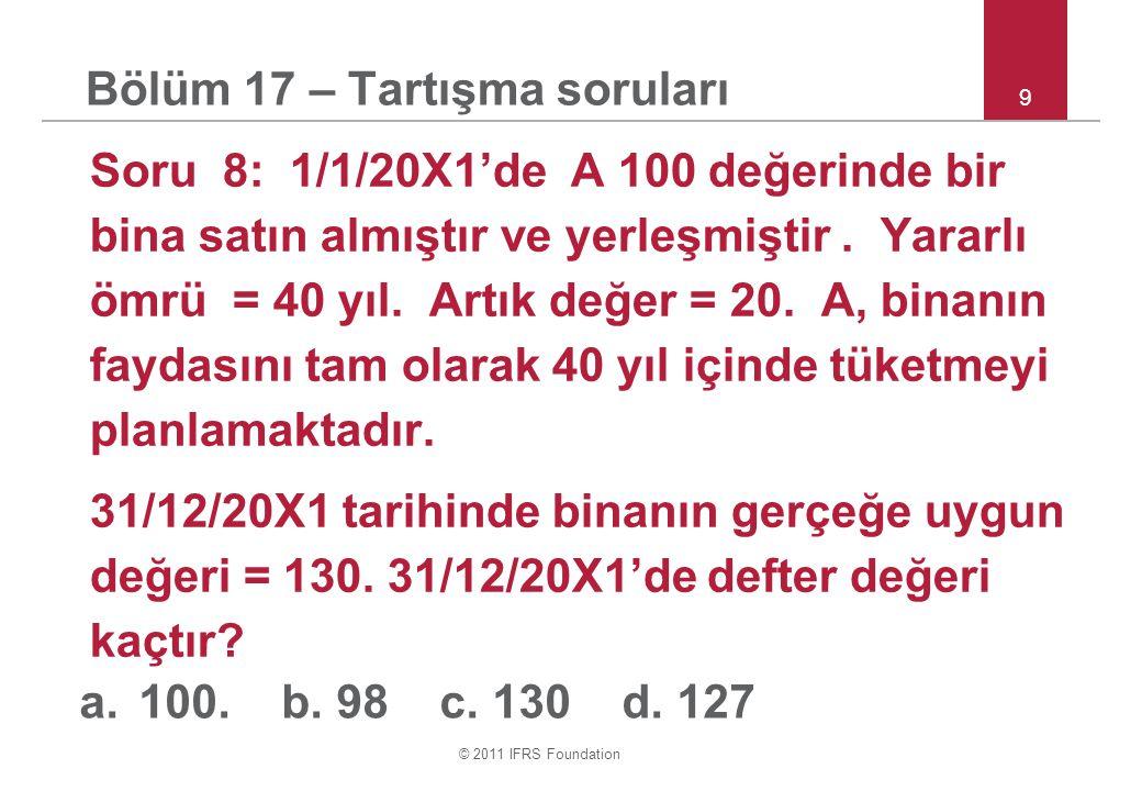 © 2011 IFRS Foundation 10 Bölüm 17 – Tartışma soruları Soru 10: 1/1/20X1'de A belirli olmayan bir amaç için bir arsa almıştır.