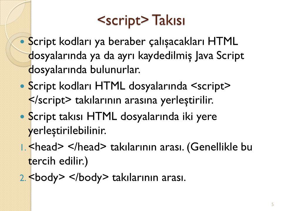 Takısı Takısı Script kodları ya beraber çalışacakları HTML dosyalarında ya da ayrı kaydedilmiş Java Script dosyalarında bulunurlar. Script kodları HTM