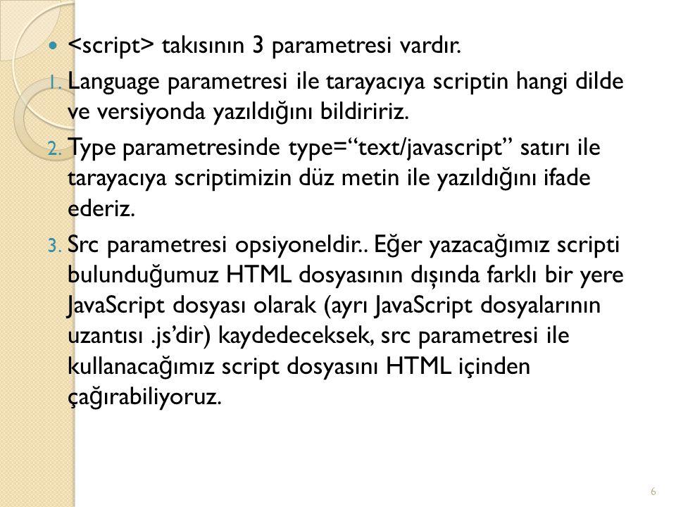 takısının 3 parametresi vardır. 1. Language parametresi ile tarayacıya scriptin hangi dilde ve versiyonda yazıldı ğ ını bildiririz. 2. Type parametres