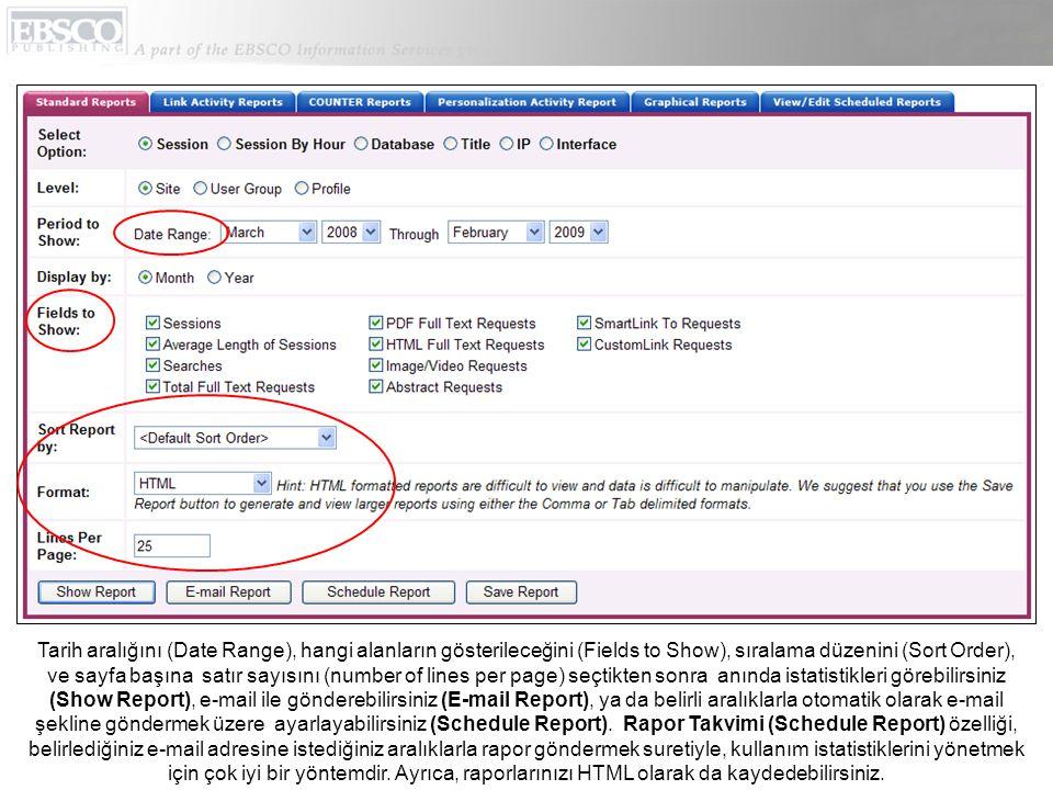 Tarih aralığını (Date Range), hangi alanların gösterileceğini (Fields to Show), sıralama düzenini (Sort Order), ve sayfa başına satır sayısını (number of lines per page) seçtikten sonra anında istatistikleri görebilirsiniz (Show Report), e-mail ile gönderebilirsiniz (E-mail Report), ya da belirli aralıklarla otomatik olarak e-mail şekline göndermek üzere ayarlayabilirsiniz (Schedule Report).