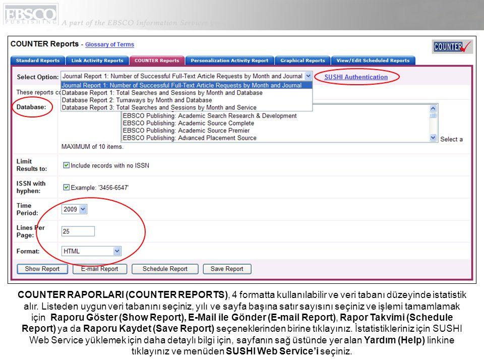 COUNTER RAPORLARI (COUNTER REPORTS), 4 formatta kullanılabilir ve veri tabanı düzeyinde istatistik alır.