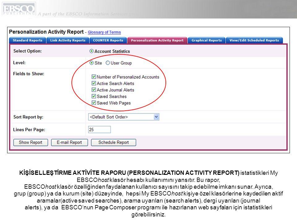 KİŞİSELLEŞTİRME AKTİVİTE RAPORU (PERSONALIZATION ACTIVITY REPORT) istatistikleri My EBSCOhost klasör hesabı kullanımını yansıtır.