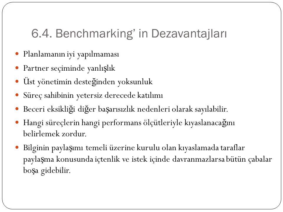 6.4. Benchmarking' in Dezavantajları Planlamanın iyi yapılmaması Partner seçiminde yanlı ş lık Üst yönetimin deste ğ inden yoksunluk Süreç sahibinin y