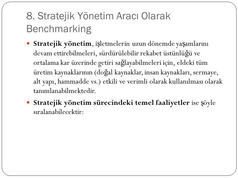 8. Stratejik Yönetim Aracı Olarak Benchmarking Stratejik yönetim, i ş letmelerin uzun dönemde ya ş amlarını devam ettirebilmeleri, sürdürülebilir reka