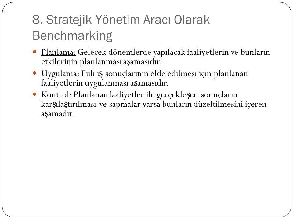 8. Stratejik Yönetim Aracı Olarak Benchmarking Planlama: Gelecek dönemlerde yapılacak faaliyetlerin ve bunların etkilerinin planlanması a ş amasıdır.