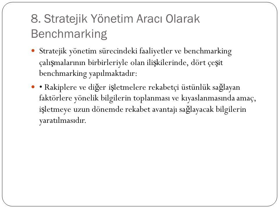 8. Stratejik Yönetim Aracı Olarak Benchmarking Stratejik yönetim sürecindeki faaliyetler ve benchmarking çalı ş malarının birbirleriyle olan ili ş kil