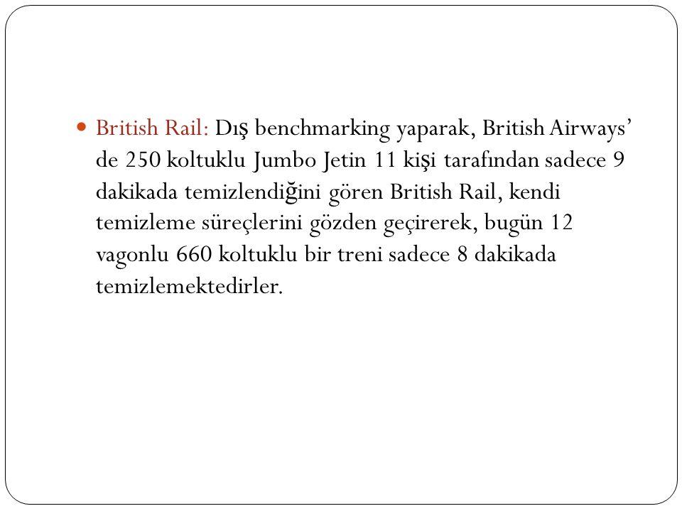 British Rail: Dı ş benchmarking yaparak, British Airways' de 250 koltuklu Jumbo Jetin 11 ki ş i tarafından sadece 9 dakikada temizlendi ğ ini gören Br