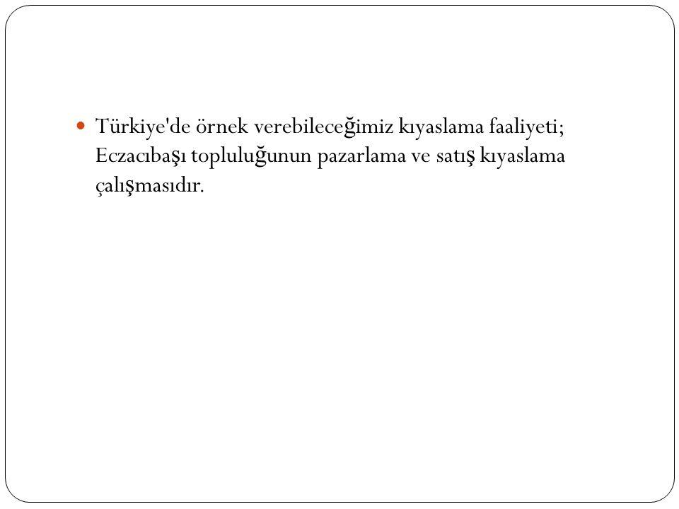 Türkiye'de örnek verebilece ğ imiz kıyaslama faaliyeti; Eczacıba ş ı toplulu ğ unun pazarlama ve satı ş kıyaslama çalı ş masıdır.