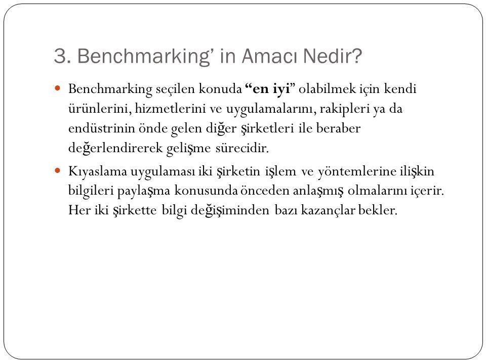 3.Benchmarking' in Amacı Nedir .
