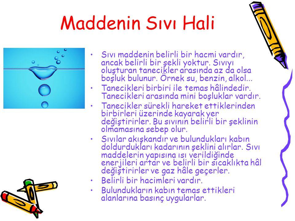 Maddenin Gaz Hali Maddenin sıvı hal gibi belirli bir şekli yoktur.