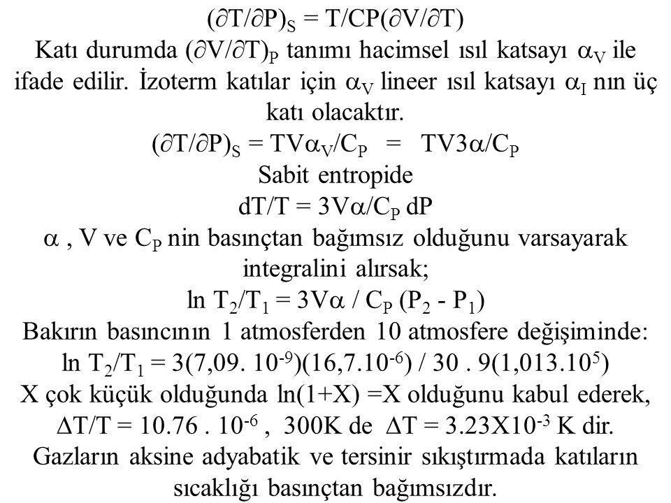 (  T/  P) S = T/CP(  V/  T) Katı durumda (  V/  T) P tanımı hacimsel ısıl katsayı  V ile ifade edilir.