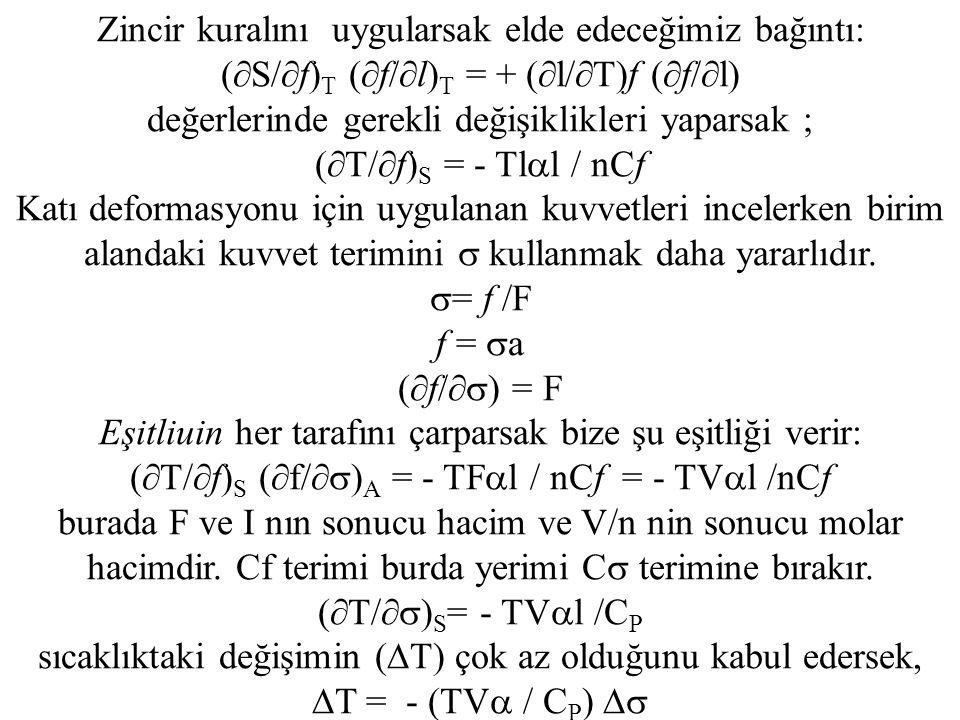 Zincir kuralını uygularsak elde edeceğimiz bağıntı: (  S/  f) T (  f/  l) T = + (  l/  T)f (  f/  l) değerlerinde gerekli değişiklikleri yaparsak ; (  T/  f) S = - Tl  l / nCf Katı deformasyonu için uygulanan kuvvetleri incelerken birim alandaki kuvvet terimini  kullanmak daha yararlıdır.