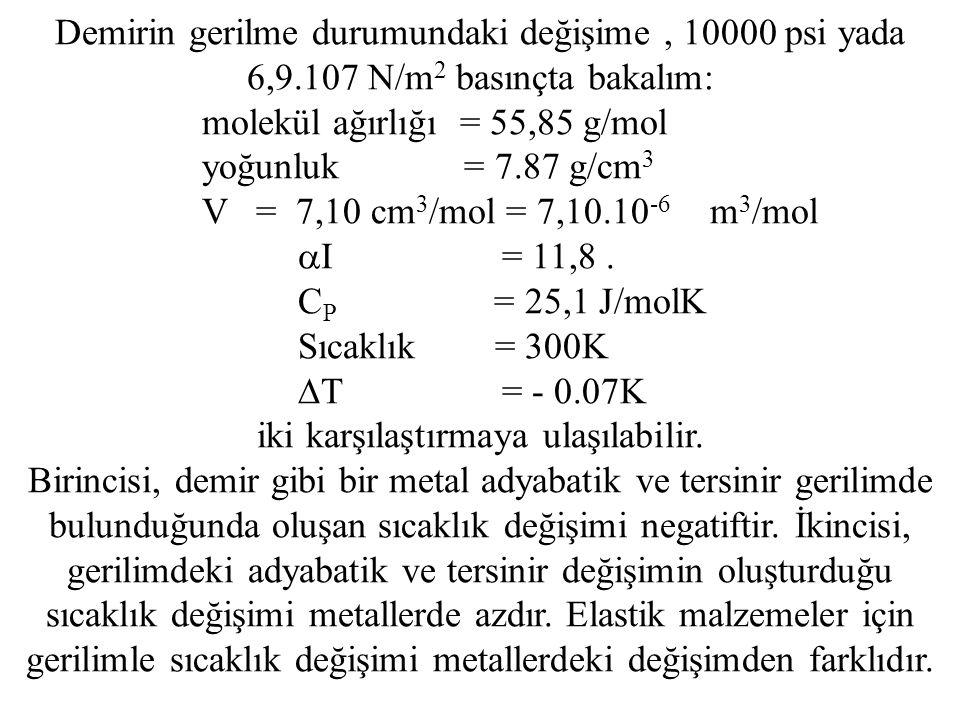 Demirin gerilme durumundaki değişime, 10000 psi yada 6,9.107 N/m 2 basınçta bakalım: molekül ağırlığı = 55,85 g/mol yoğunluk = 7.87 g/cm 3 V = 7,10 cm 3 /mol = 7,10.10 -6 m 3 /mol  I = 11,8.