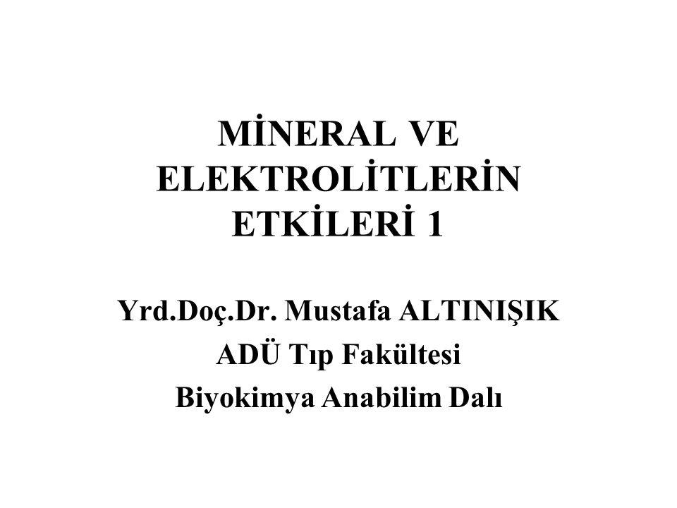 Sodyum (Na) Potasyum (K) Klor (Cl) Magnezyum (Mg) Kalsiyum (Ca) Fosfor (P) Bakır (Cu) Demir (Fe) Çinko (Zn) Kobalt (Co) Molibden (Mo) Manganez (Mn) Kadmiyum (Cd) Lityum (Li) Selenyum (Se) Krom (Cr) Nikel (Ni) Vanadyum (V) Arsenik (As) Silisyum (Si) Bor (B) Kükürt (S) İyot (I) Flüor (F) Mineraller Na +, K +, Ca 2+, Mg 2+, Cl , HCO 3 , HPO 4 2  önemli elektrolitlerdir.