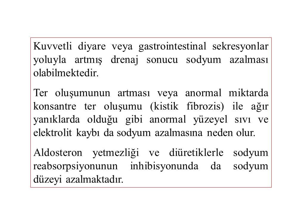 Erişkin sağlıklı bir insanda serum sodyum düzeyinin normal değeri 140  7,3 mEq/L Serum sodyum düzeyinin normalden yüksek olması hipernatremi olarak tanımlanır.