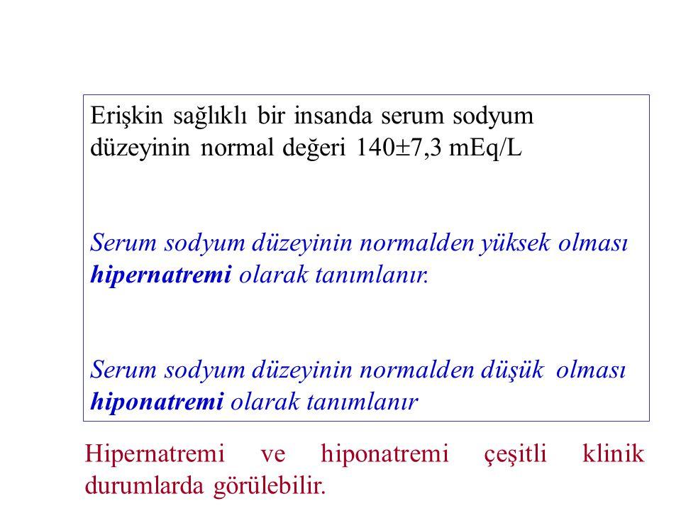Erişkin sağlıklı bir insanda serum sodyum düzeyinin normal değeri 140  7,3 mEq/L Serum sodyum düzeyinin normalden yüksek olması hipernatremi olarak t