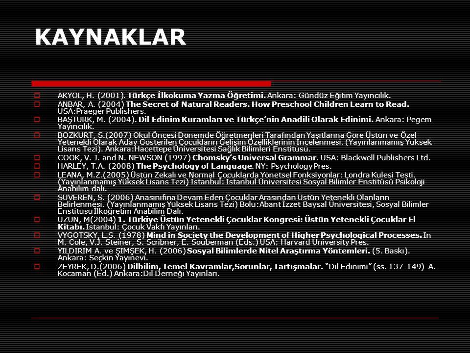 KAYNAKLAR  AKYOL, H. (2001). Türkçe İlkokuma Yazma Öğretimi. Ankara: Gündüz Eğitim Yayıncılık.  ANBAR, A. (2004) The Secret of Natural Readers. How