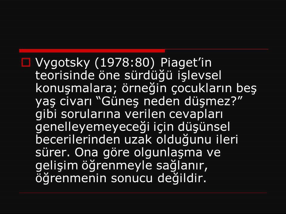 """ Vygotsky (1978:80) Piaget'in teorisinde öne sürdüğü işlevsel konuşmalara; örneğin çocukların beş yaş civarı """"Güneş neden düşmez?"""" gibi sorularına ve"""
