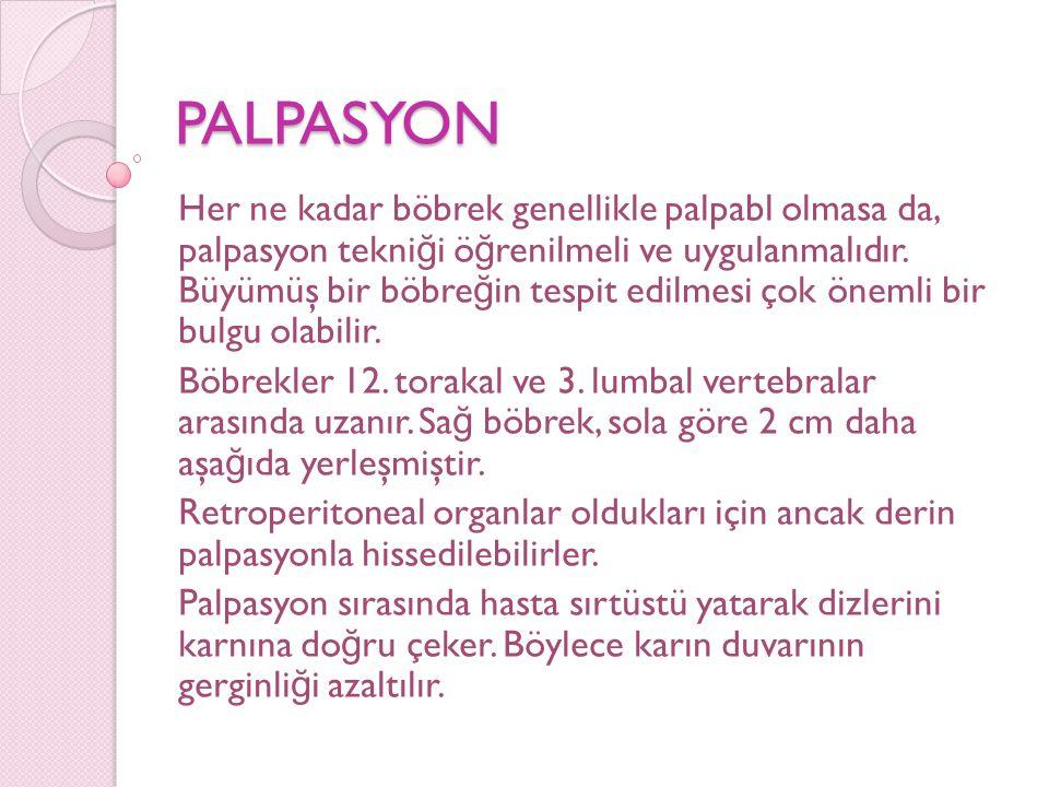 PALPASYON Her ne kadar böbrek genellikle palpabl olmasa da, palpasyon tekni ğ i ö ğ renilmeli ve uygulanmalıdır. Büyümüş bir böbre ğ in tespit edilmes