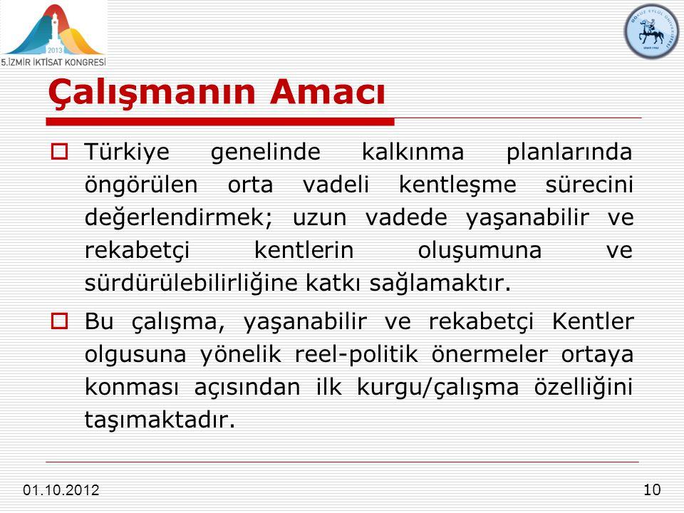 Çalışmanın Amacı 10 01.10.2012  Türkiye genelinde kalkınma planlarında öngörülen orta vadeli kentleşme sürecini değerlendirmek; uzun vadede yaşanabilir ve rekabetçi kentlerin oluşumuna ve sürdürülebilirliğine katkı sağlamaktır.