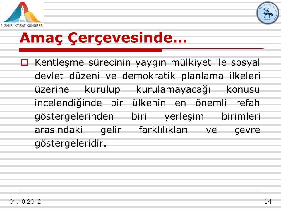 Amaç Çerçevesinde... 14 01.10.2012  Kentleşme sürecinin yaygın mülkiyet ile sosyal devlet düzeni ve demokratik planlama ilkeleri üzerine kurulup kuru
