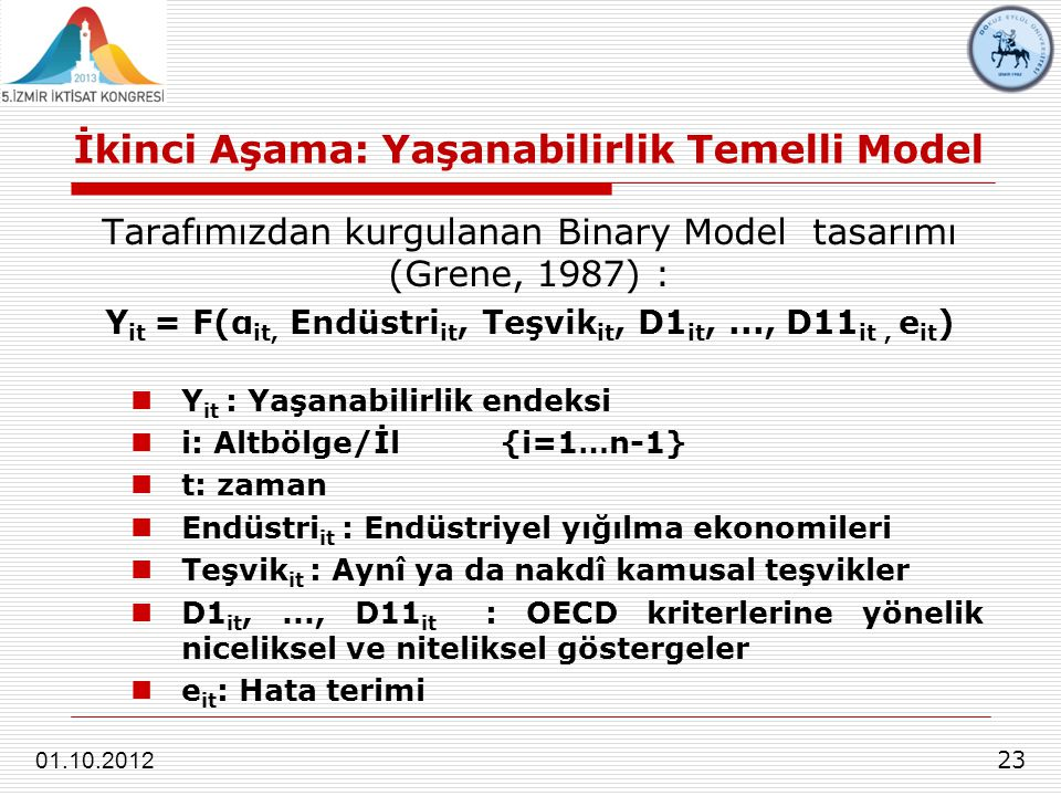 İkinci Aşama: Yaşanabilirlik Temelli Model 23 01.10.2012 Tarafımızdan kurgulanan Binary Model tasarımı (Grene, 1987) : Y it = F(α it, Endüstri it, Teş