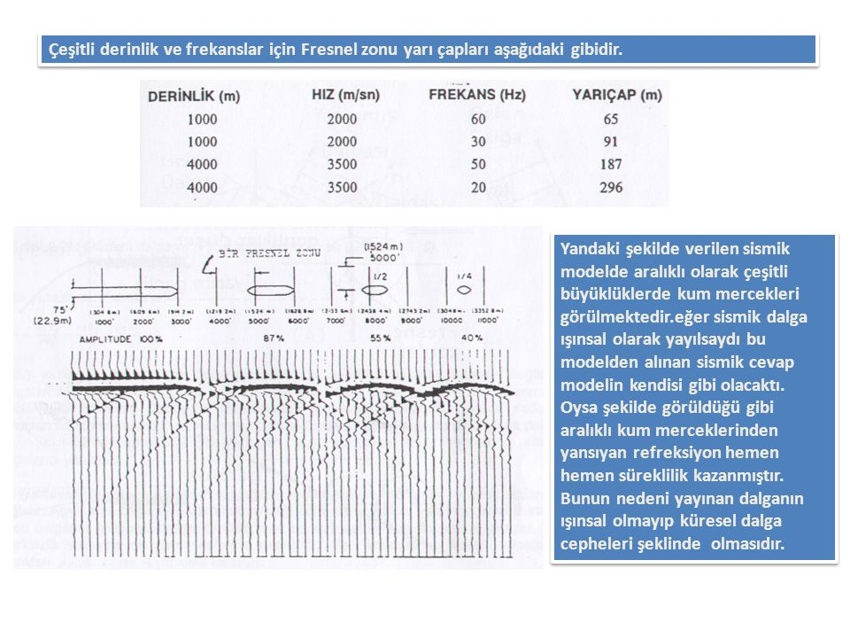 Çeşitli derinlik ve frekanslar için Fresnel zonu yarı çapları aşağıdaki gibidir. Yandaki şekilde verilen sismik modelde aralıklı olarak çeşitli büyükl
