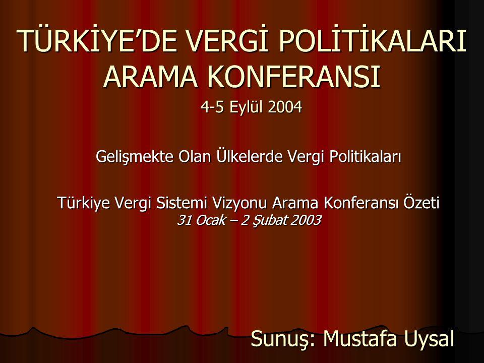 TÜRKİYE'DE VERGİ POLİTİKALARI ARAMA KONFERANSI Gelişmekte Olan Ülkelerde Vergi Politikaları Türkiye Vergi Sistemi Vizyonu Arama Konferansı Özeti 31 Oc