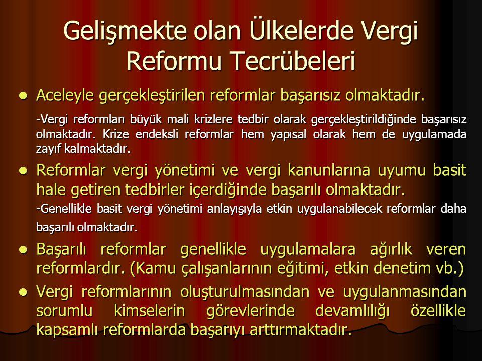 Gelişmekte olan Ülkelerde Vergi Reformu Tecrübeleri Aceleyle gerçekleştirilen reformlar başarısız olmaktadır. Aceleyle gerçekleştirilen reformlar başa