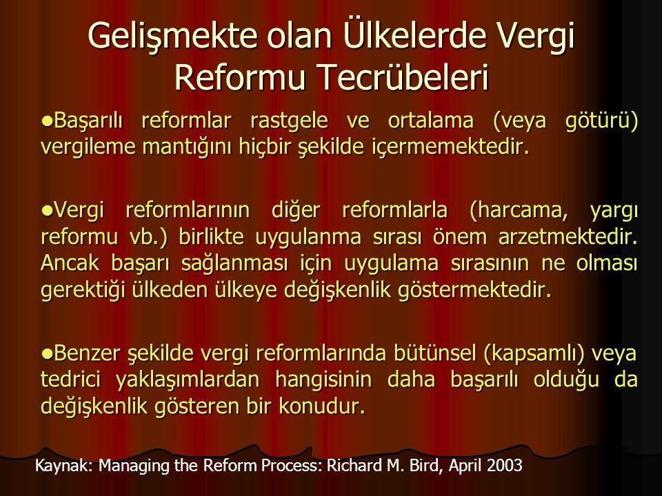 Gelişmekte olan Ülkelerde Vergi Reformu Tecrübeleri Başarılı reformlar rastgele ve ortalama (veya götürü) vergileme mantığını hiçbir şekilde içermemek