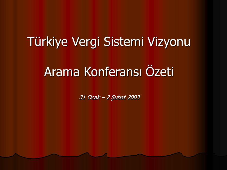 Türkiye Vergi Sistemi Vizyonu Arama Konferansı Özeti 31 Ocak – 2 Şubat 2003