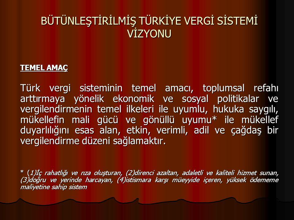 BÜTÜNLEŞTİRİLMİŞ TÜRKİYE VERGİ SİSTEMİ VİZYONU TEMEL AMAÇ Türk vergi sisteminin temel amacı, toplumsal refahı arttırmaya yönelik ekonomik ve sosyal po